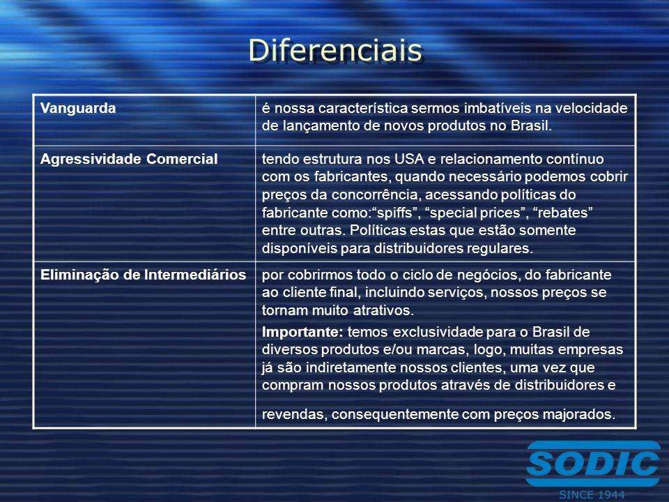 Diferenciais Vanguardaé nossa característica sermos imbatíveis na velocidade de lançamento de novos produtos no Brasil. Agressividade Comercialtendo e