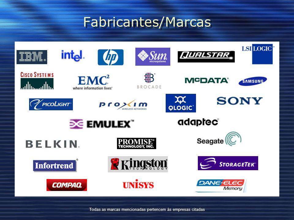 Fabricantes/Marcas Todas as marcas mencionadas pertencem às empresas citadas