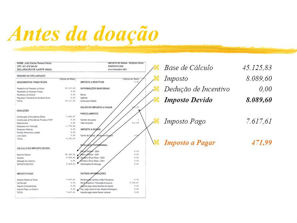 Antes da doação zBase de Cálculo45.125,83 zImposto 8.089,60 zDedução de Incentivo 0,00 zImposto Devido 8.089,60 zImposto Pago 7.617,61 zImposto a Pagar 471,99