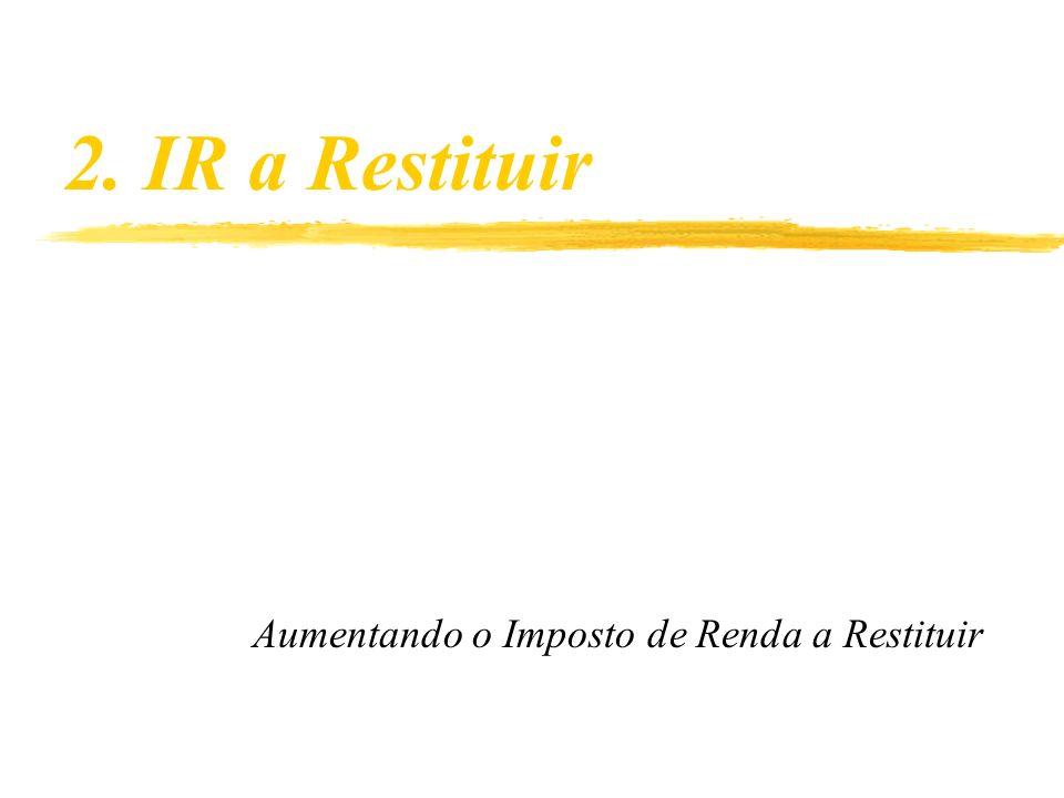2. IR a Restituir Aumentando o Imposto de Renda a Restituir