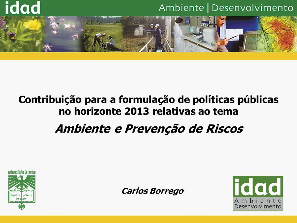 Contribuição para a formulação de políticas públicas no horizonte 2013 relativas ao tema Ambiente e Prevenção de Riscos Carlos Borrego