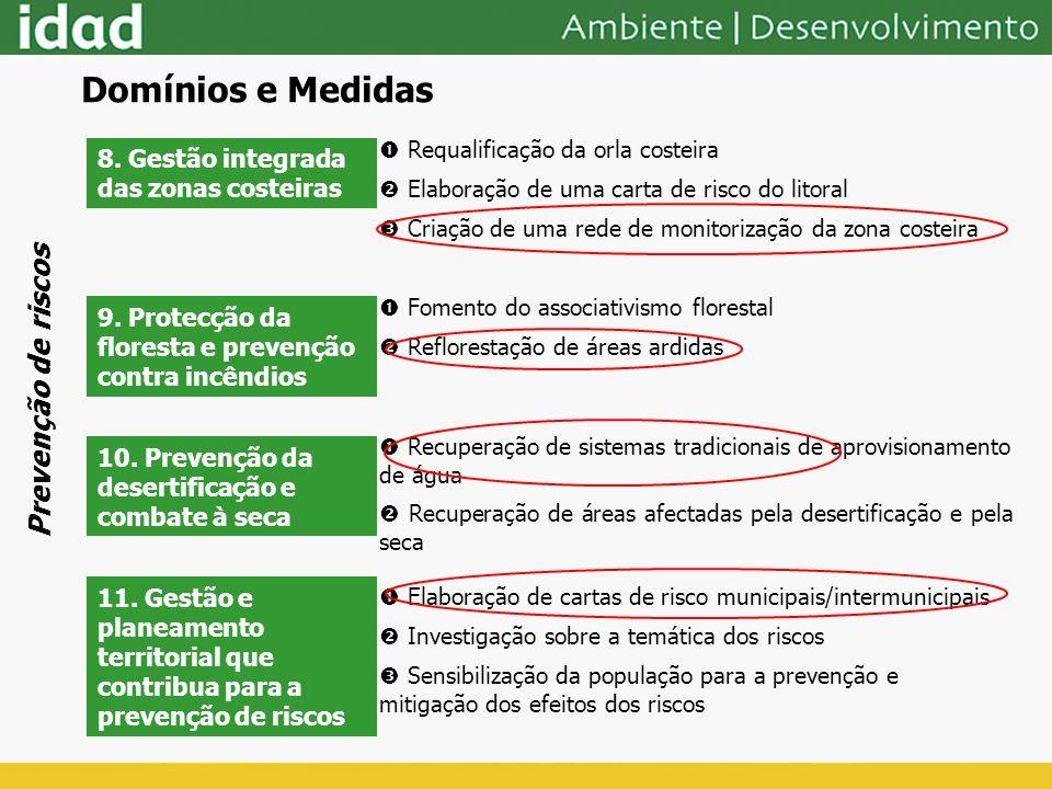 8. Gestão integrada das zonas costeiras Requalificação da orla costeira Elaboração de uma carta de risco do litoral Criação de uma rede de monitorizaç