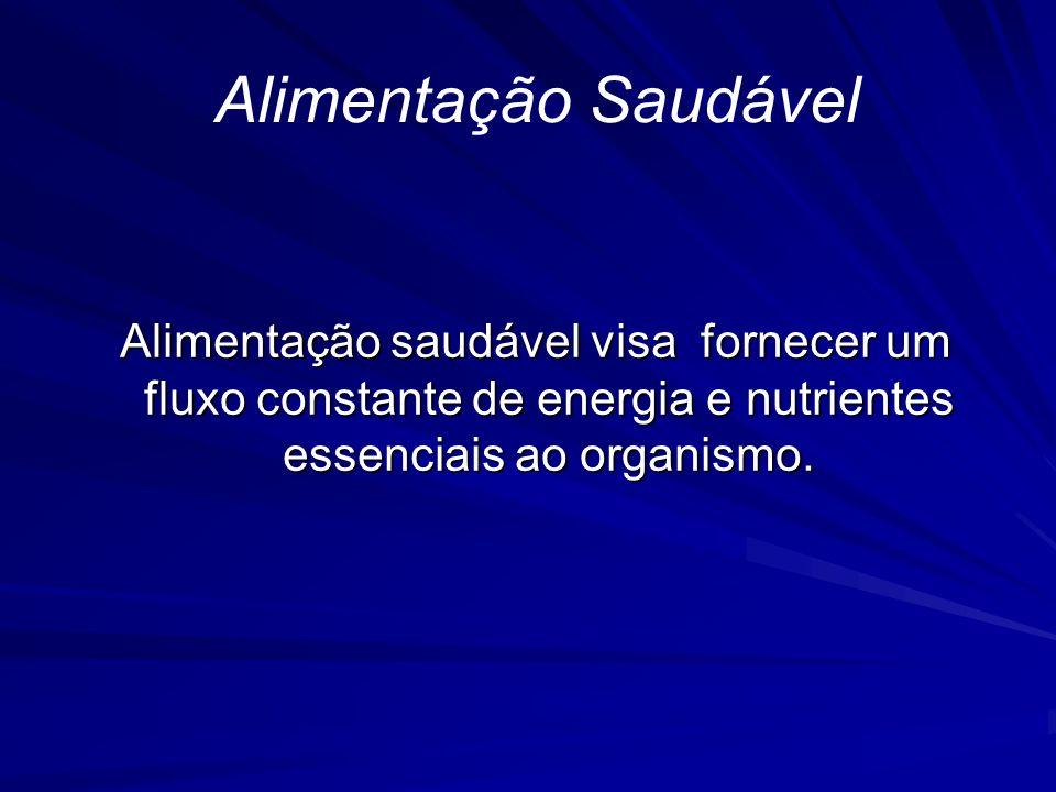Alimentação Saudável Alimentação saudável visa fornecer um fluxo constante de energia e nutrientes essenciais ao organismo. Alimentação saudável visa