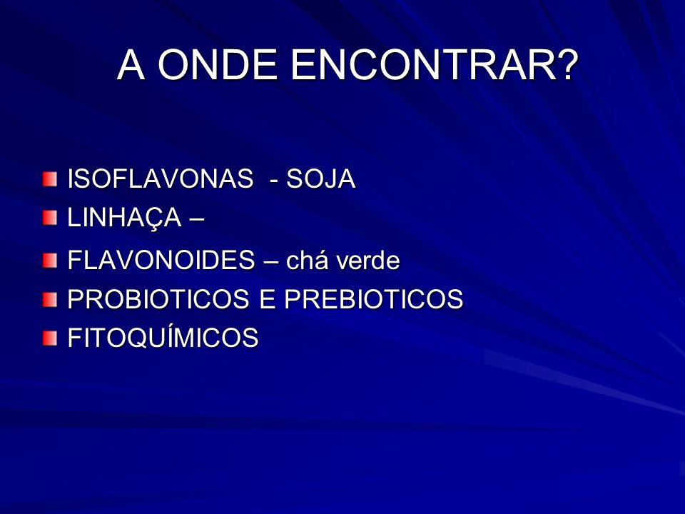 A ONDE ENCONTRAR? A ONDE ENCONTRAR? ISOFLAVONAS - SOJA LINHAÇA – FLAVONOIDES – chá verde PROBIOTICOS E PREBIOTICOS FITOQUÍMICOS