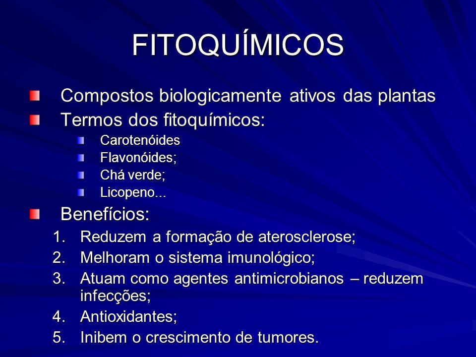FITOQUÍMICOS Compostos biologicamente ativos das plantas Termos dos fitoquímicos: CarotenóidesFlavonóides; Chá verde; Licopeno...Benefícios: 1.Reduzem