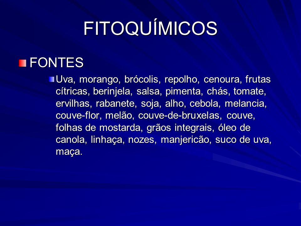 FITOQUÍMICOS FONTES Uva, morango, brócolis, repolho, cenoura, frutas cítricas, berinjela, salsa, pimenta, chás, tomate, ervilhas, rabanete, soja, alho