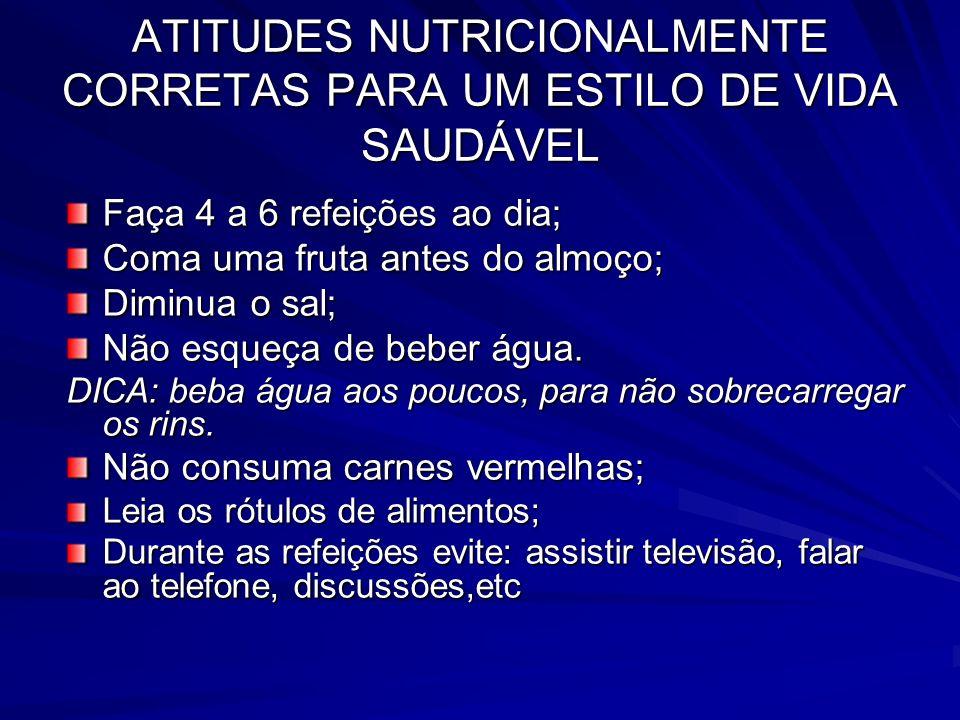 ATITUDES NUTRICIONALMENTE CORRETAS PARA UM ESTILO DE VIDA SAUDÁVEL Faça 4 a 6 refeições ao dia; Coma uma fruta antes do almoço; Diminua o sal; Não esq
