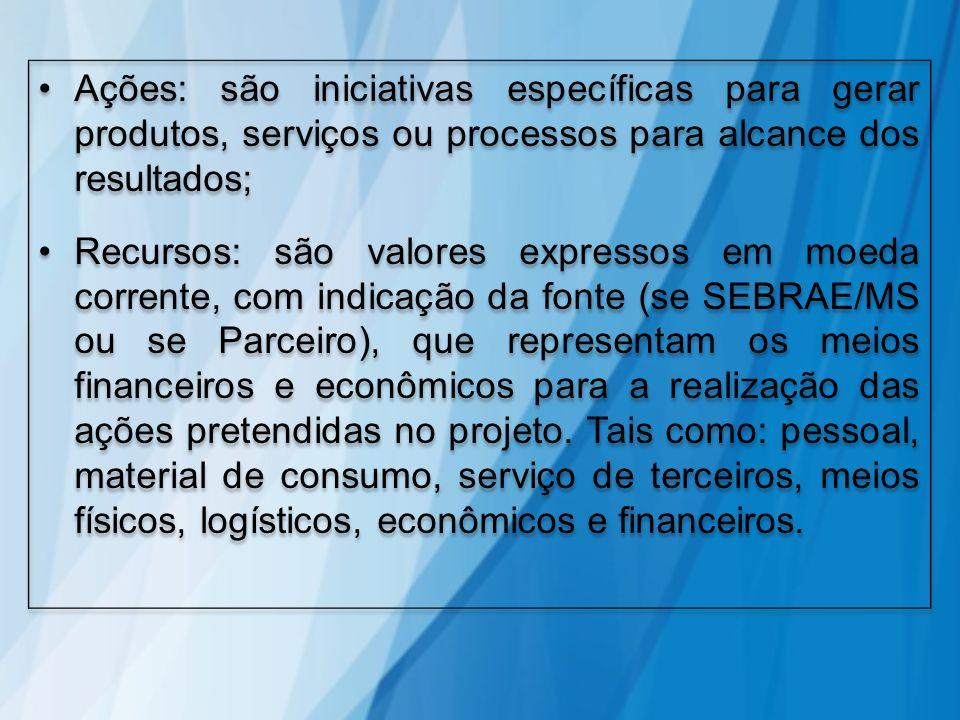 Ações: são iniciativas específicas para gerar produtos, serviços ou processos para alcance dos resultados; Recursos: são valores expressos em moeda co