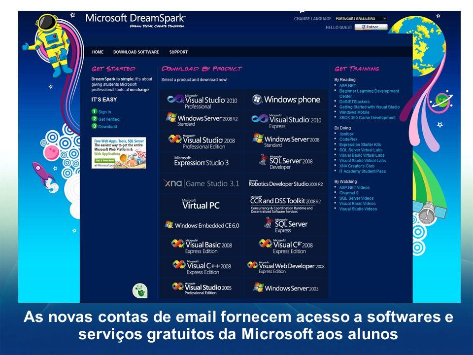 As novas contas de email fornecem acesso a softwares e serviços gratuitos da Microsoft aos alunos
