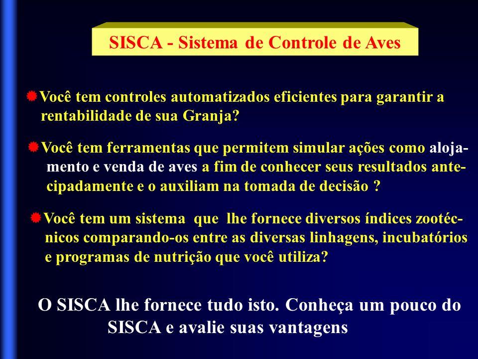 SISCA - Sistema de Controle de Aves Você tem controles automatizados eficientes para garantir a rentabilidade de sua Granja.