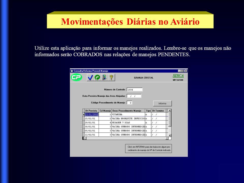 Movimentações Diárias no Aviário Informe aqui todas as movimentações de ração (recebimento e devolução) ocorridas em seus aviários.
