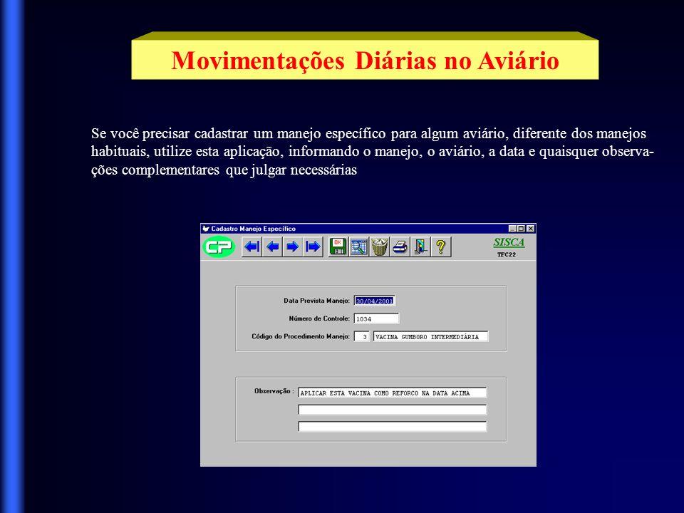 Movimentações Diárias no Aviário Utilize esta aplicação para informar os manejos realizados.