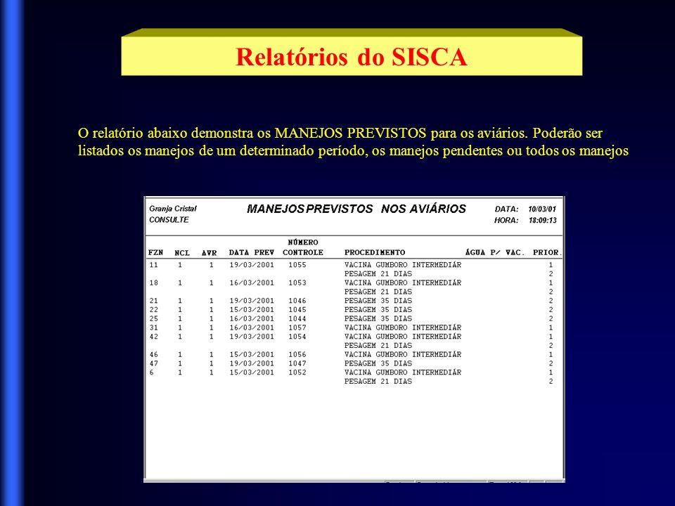 Relatórios do SISCA O relatório FECHAMENTO NO PERÍODO é um relatório operacional e informa para o usuário dados importantes como IDADE DAS AVES, MORTALIDADE, ELIMINAÇÕES SALDO, ÚLTIMA PESAGEM e RAÇÃO CONSUMIDA.