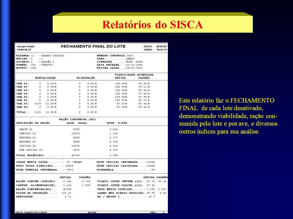 Relatórios do SISCA Demonstra a MOVIMENTAÇÃO DE RAÇÃO para um aviário, listando as previsões de consumo por fase de vida, com as respectivas datas de início e fim, e as entregas de ração já realizadas.