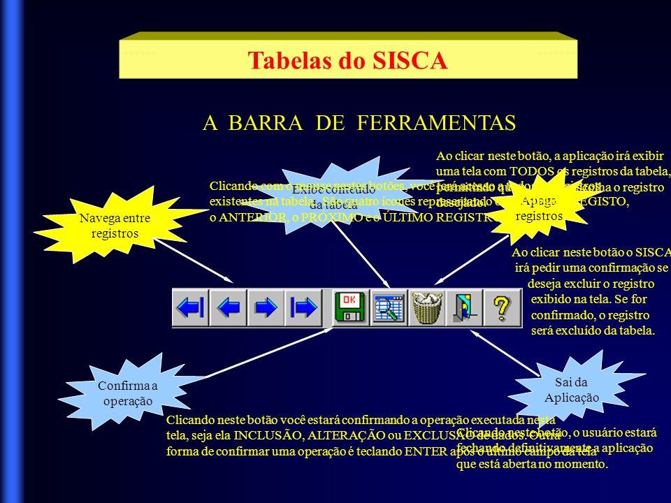 Tabelas do SISCA Vamos mostrar mais detalhadamente algumas destas tabelas, afim de esclarecer o objetivo de sua utilização.