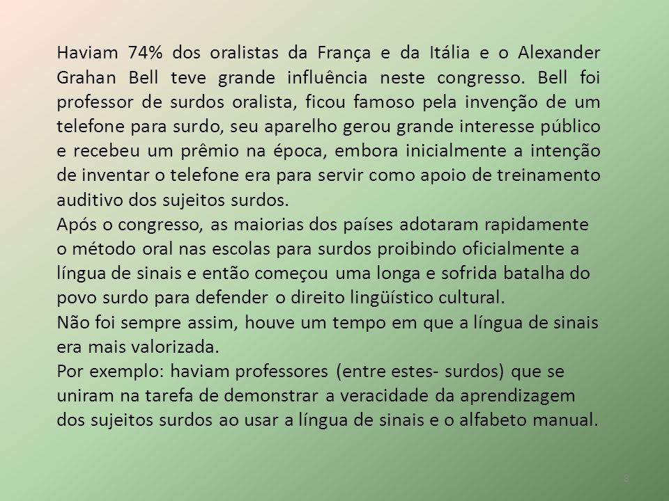 Haviam 74% dos oralistas da França e da Itália e o Alexander Grahan Bell teve grande influência neste congresso. Bell foi professor de surdos oralista