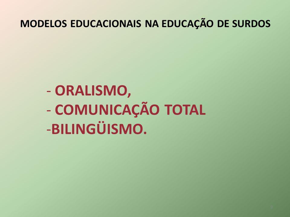 MODELOS EDUCACIONAIS NA EDUCAÇÃO DE SURDOS - ORALISMO, - COMUNICAÇÃO TOTAL -BILINGÜISMO. 9