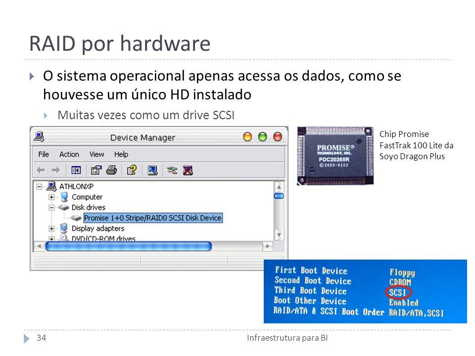 RAID por hardware O sistema operacional apenas acessa os dados, como se houvesse um único HD instalado Muitas vezes como um drive SCSI Chip Promise FastTrak 100 Lite da Soyo Dragon Plus 34Infraestrutura para BI