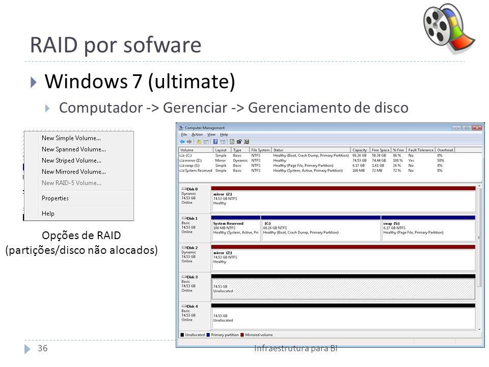 RAID por sofware Windows 7 (ultimate) Computador -> Gerenciar -> Gerenciamento de disco Opções de RAID (partições/disco não alocados) 36Infraestrutura para BI