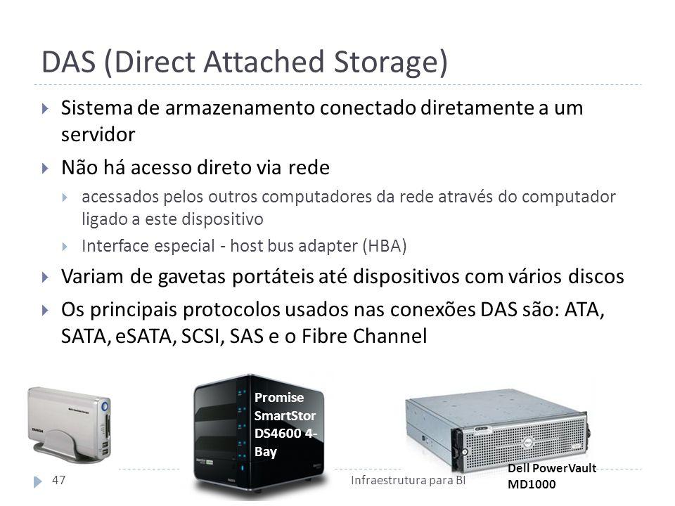 DAS (Direct Attached Storage) Sistema de armazenamento conectado diretamente a um servidor Não há acesso direto via rede acessados pelos outros computadores da rede através do computador ligado a este dispositivo Interface especial - host bus adapter (HBA) Variam de gavetas portáteis até dispositivos com vários discos Os principais protocolos usados nas conexões DAS são: ATA, SATA, eSATA, SCSI, SAS e o Fibre Channel Promise SmartStor DS4600 4- Bay Dell PowerVault MD1000 47Infraestrutura para BI
