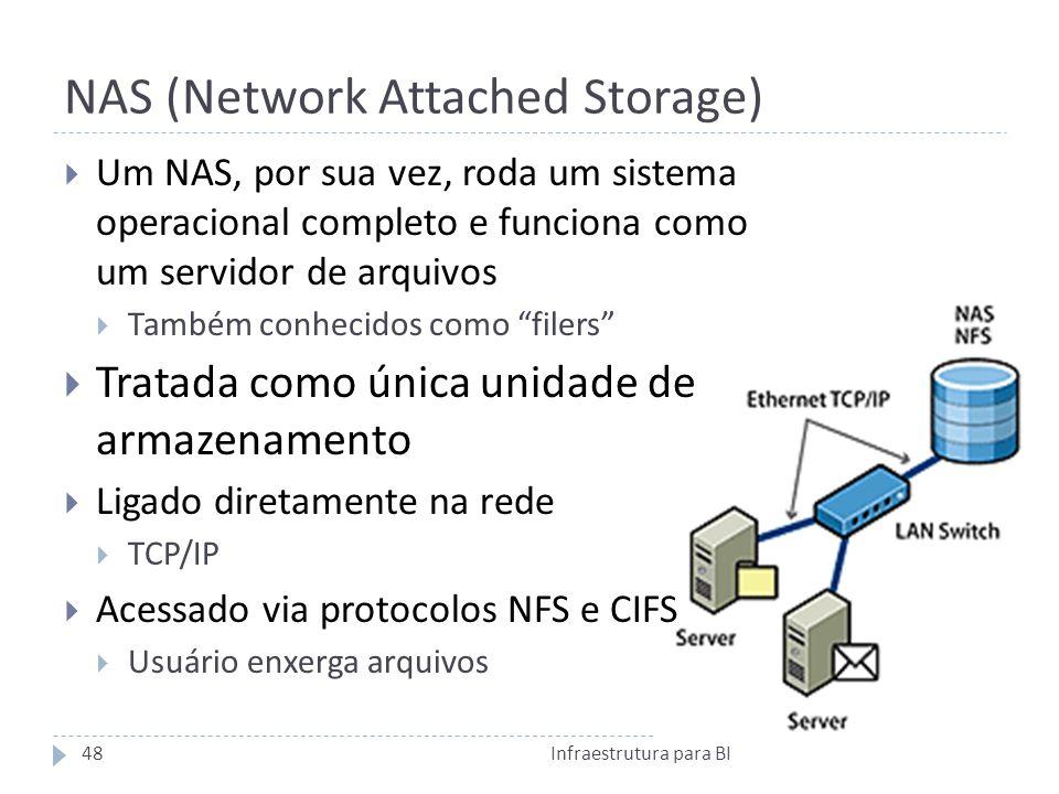 NAS (Network Attached Storage) Um NAS, por sua vez, roda um sistema operacional completo e funciona como um servidor de arquivos Também conhecidos como filers Tratada como única unidade de armazenamento Ligado diretamente na rede TCP/IP Acessado via protocolos NFS e CIFS Usuário enxerga arquivos 48Infraestrutura para BI