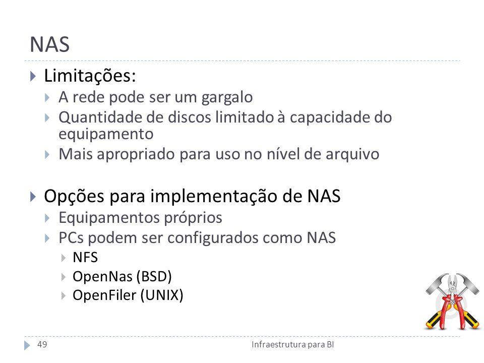 NAS Limitações: A rede pode ser um gargalo Quantidade de discos limitado à capacidade do equipamento Mais apropriado para uso no nível de arquivo Opções para implementação de NAS Equipamentos próprios PCs podem ser configurados como NAS NFS OpenNas (BSD) OpenFiler (UNIX) 49Infraestrutura para BI