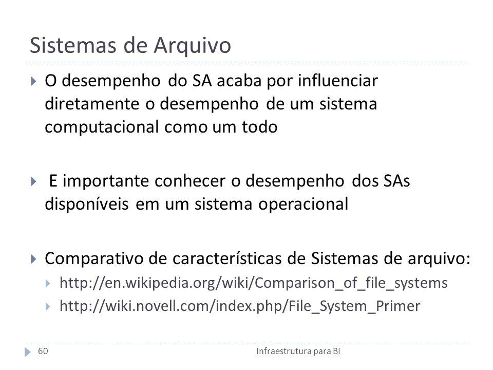Sistemas de Arquivo O desempenho do SA acaba por influenciar diretamente o desempenho de um sistema computacional como um todo E importante conhecer o desempenho dos SAs disponíveis em um sistema operacional Comparativo de características de Sistemas de arquivo: http://en.wikipedia.org/wiki/Comparison_of_file_systems http://wiki.novell.com/index.php/File_System_Primer 60Infraestrutura para BI
