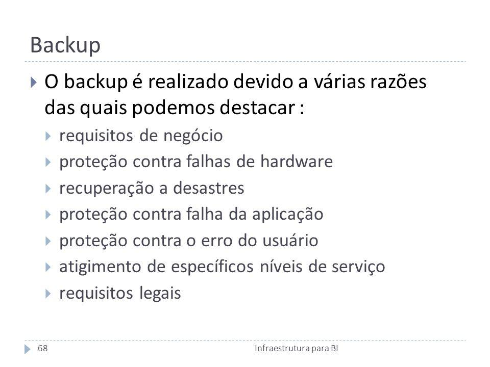 Backup O backup é realizado devido a várias razões das quais podemos destacar : requisitos de negócio proteção contra falhas de hardware recuperação a desastres proteção contra falha da aplicação proteção contra o erro do usuário atigimento de específicos níveis de serviço requisitos legais 68Infraestrutura para BI