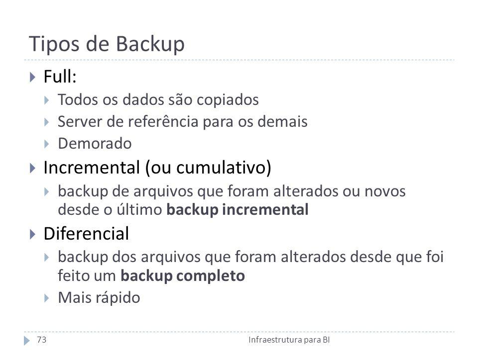 Tipos de Backup Full: Todos os dados são copiados Server de referência para os demais Demorado Incremental (ou cumulativo) backup de arquivos que foram alterados ou novos desde o último backup incremental Diferencial backup dos arquivos que foram alterados desde que foi feito um backup completo Mais rápido 73Infraestrutura para BI