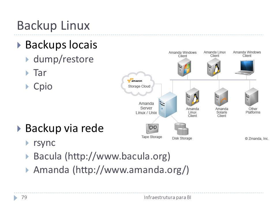 Backup Linux Backups locais dump/restore Tar Cpio Backup via rede rsync Bacula (http://www.bacula.org) Amanda (http://www.amanda.org/) 79Infraestrutura para BI
