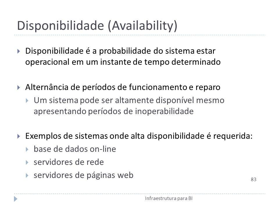 Disponibilidade (Availability) Disponibilidade é a probabilidade do sistema estar operacional em um instante de tempo determinado Alternância de períodos de funcionamento e reparo Um sistema pode ser altamente disponível mesmo apresentando períodos de inoperabilidade Exemplos de sistemas onde alta disponibilidade é requerida: base de dados on-line servidores de rede servidores de páginas web 83 Infraestrutura para BI