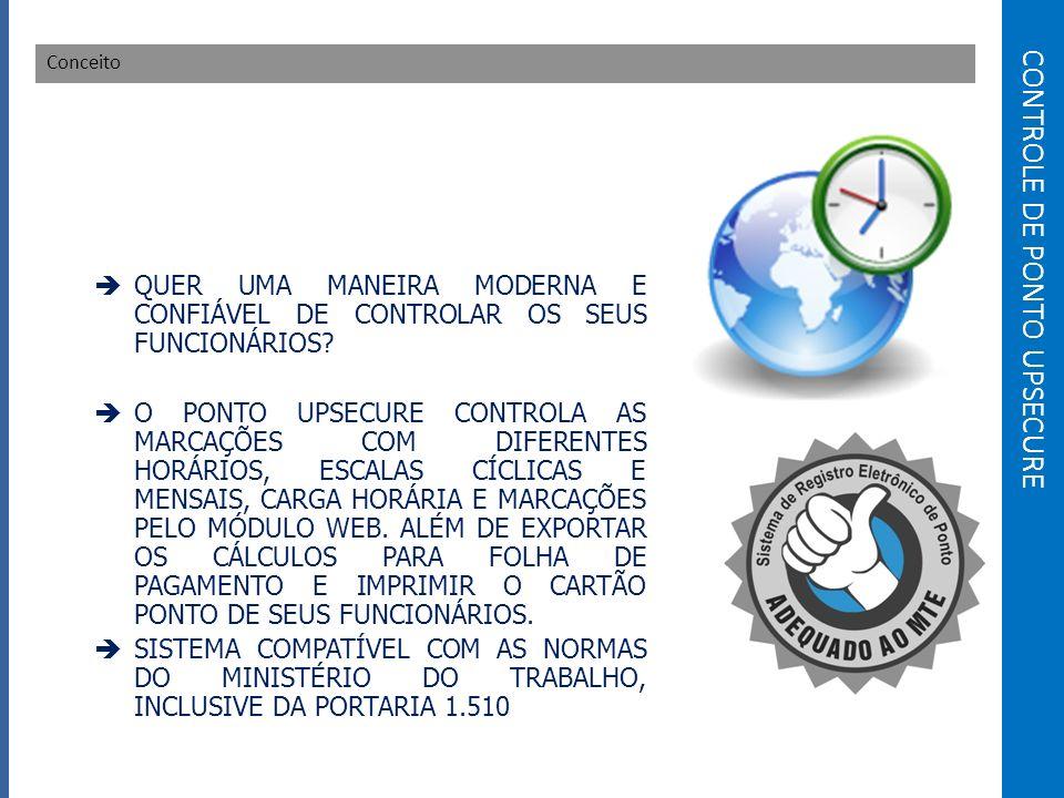 CONTROLE DE PONTO UPSECURE Conceito QUER UMA MANEIRA MODERNA E CONFIÁVEL DE CONTROLAR OS SEUS FUNCIONÁRIOS.