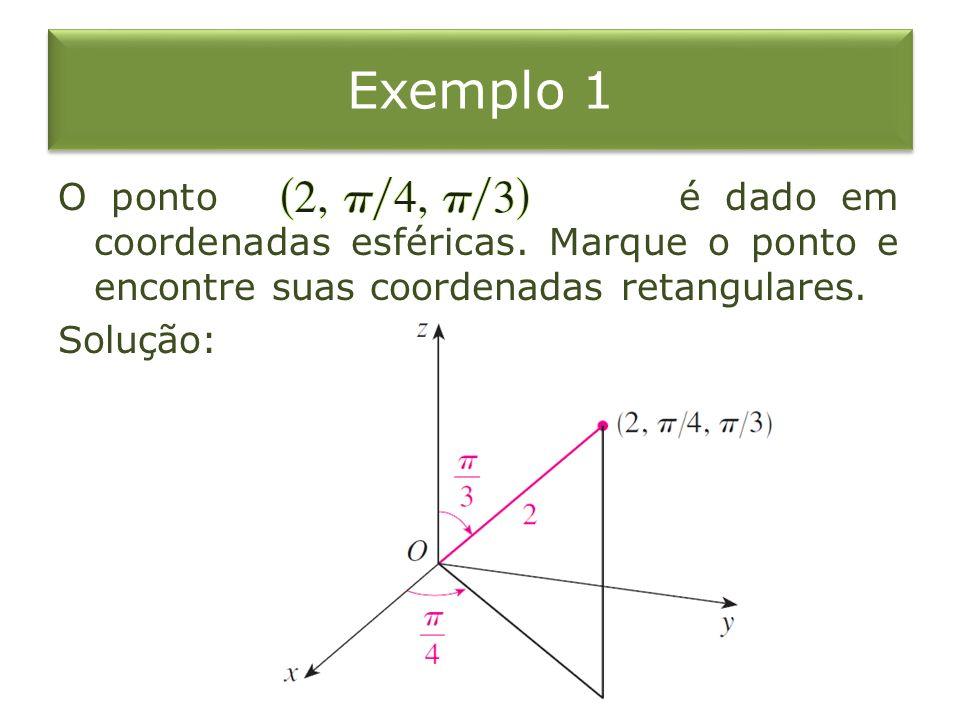 Exemplo 1 O ponto é dado em coordenadas esféricas. Marque o ponto e encontre suas coordenadas retangulares. Solução: