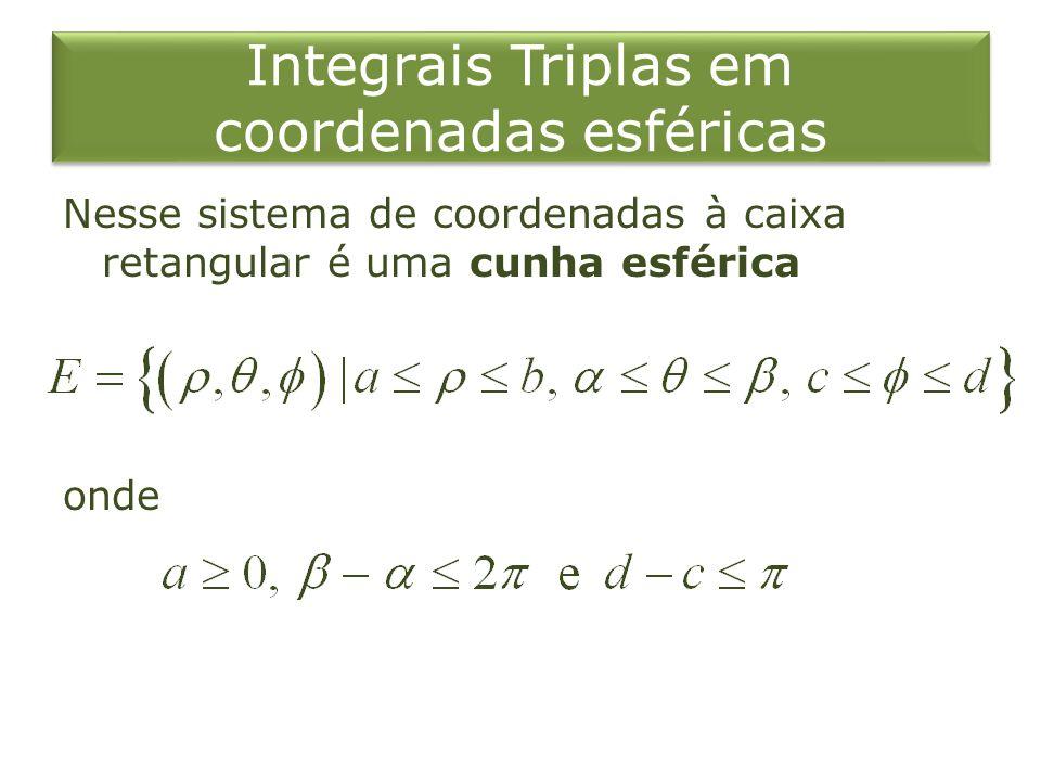 Integrais Triplas em coordenadas esféricas Nesse sistema de coordenadas à caixa retangular é uma cunha esférica onde
