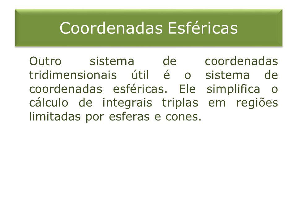Coordenadas Esféricas Outro sistema de coordenadas tridimensionais útil é o sistema de coordenadas esféricas. Ele simplifica o cálculo de integrais tr