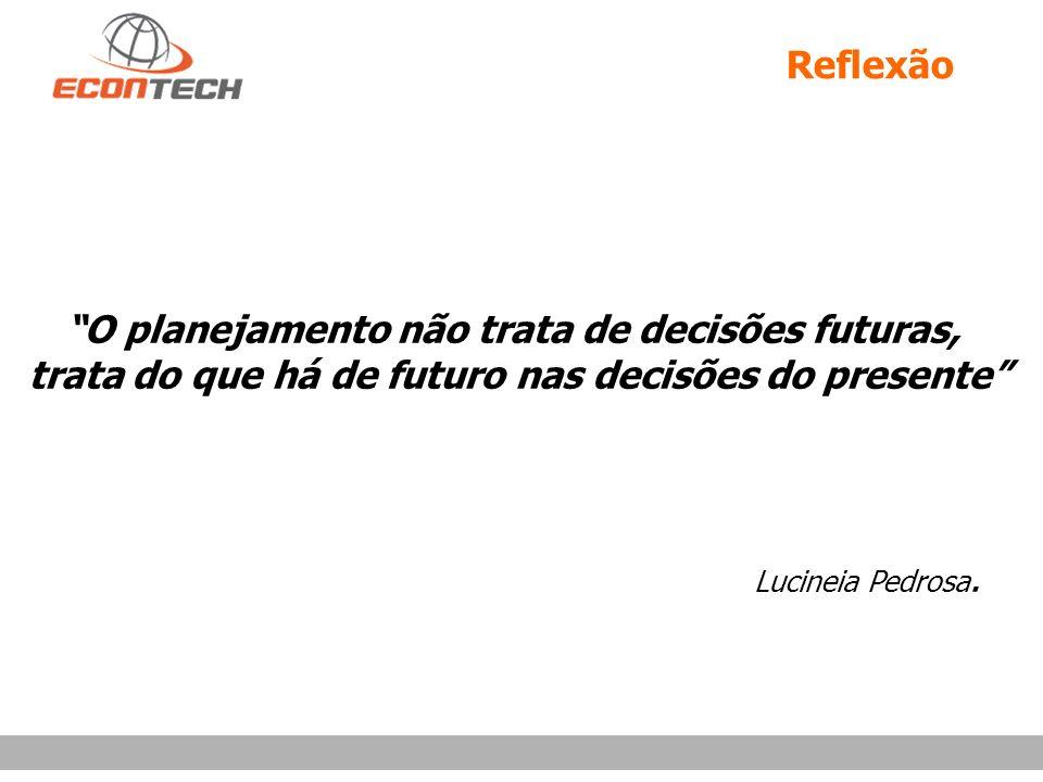 Reflexão O planejamento não trata de decisões futuras, trata do que há de futuro nas decisões do presente Lucineia Pedrosa.