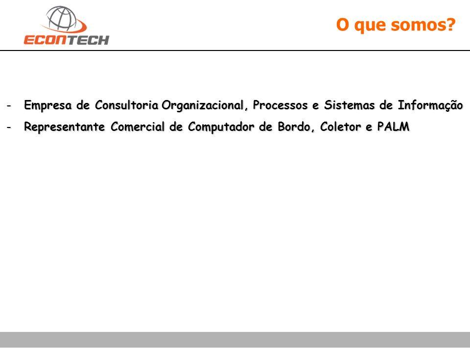 O que somos? -Empresa de Consultoria Organizacional, Processos e Sistemas de Informação -Representante Comercial de Computador de Bordo, Coletor e PAL