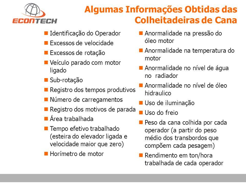 Algumas Informações Obtidas das Colheitadeiras de Cana Identificação do Operador n Excessos de velocidade Excessos de rotação Veículo parado com motor
