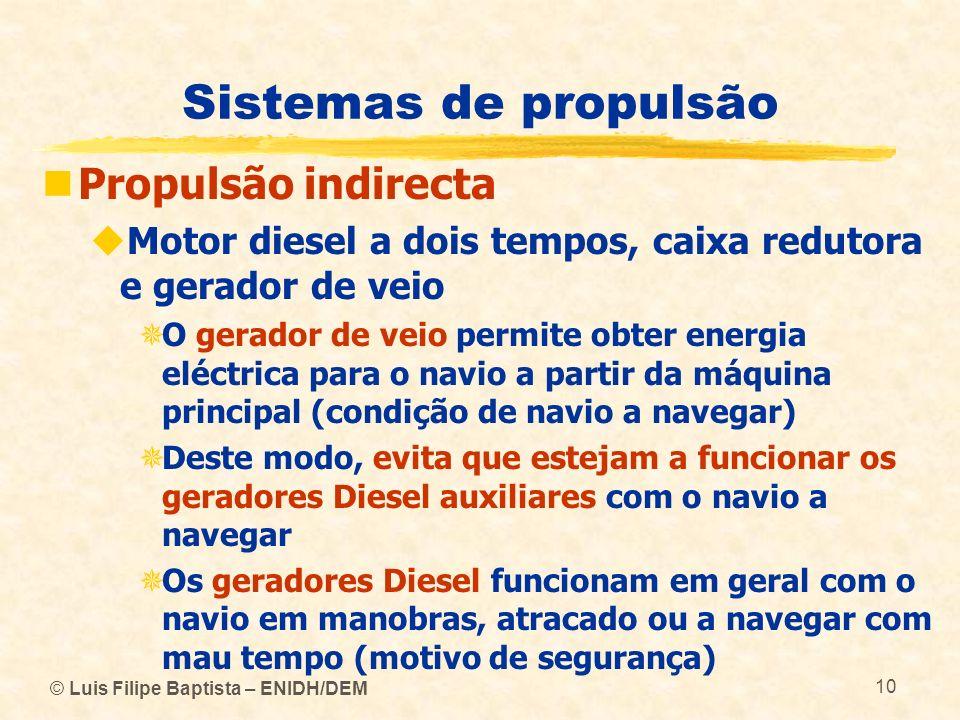 © Luis Filipe Baptista – ENIDH/DEM 10 Sistemas de propulsão Propulsão indirecta Motor diesel a dois tempos, caixa redutora e gerador de veio O gerador