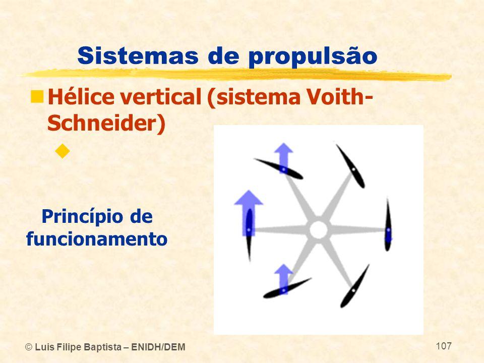 © Luis Filipe Baptista – ENIDH/DEM 107 Sistemas de propulsão Hélice vertical (sistema Voith- Schneider) Princípio de funcionamento