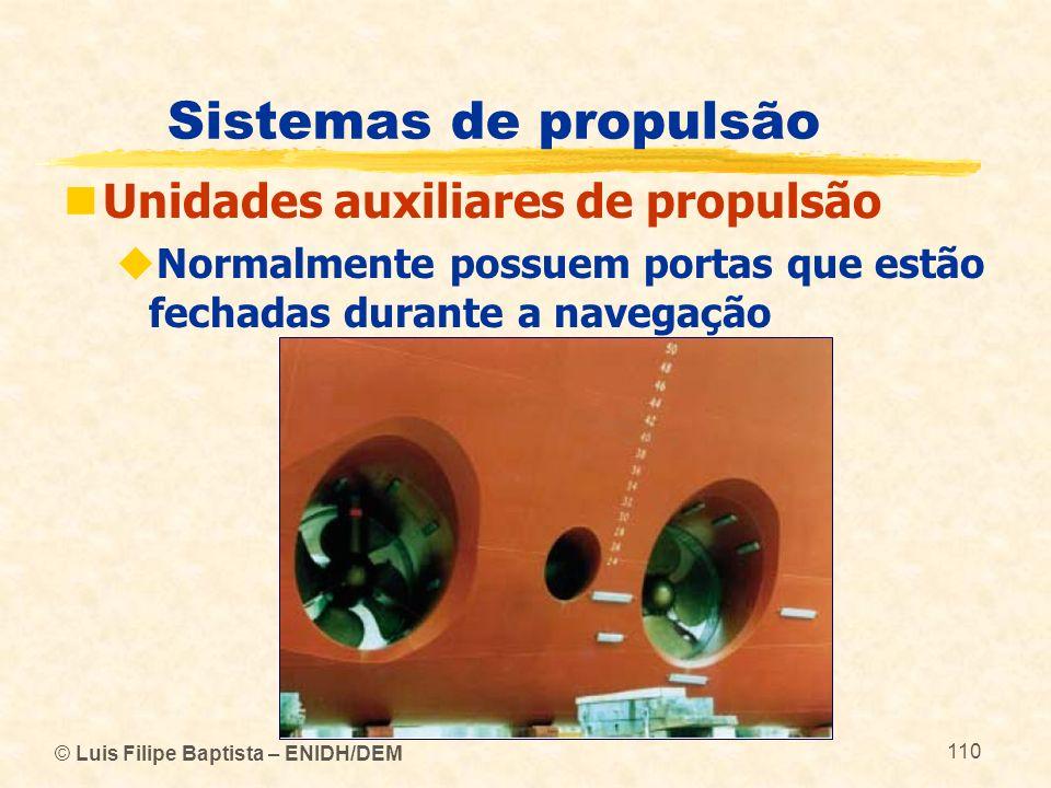 © Luis Filipe Baptista – ENIDH/DEM 110 Sistemas de propulsão Unidades auxiliares de propulsão Normalmente possuem portas que estão fechadas durante a