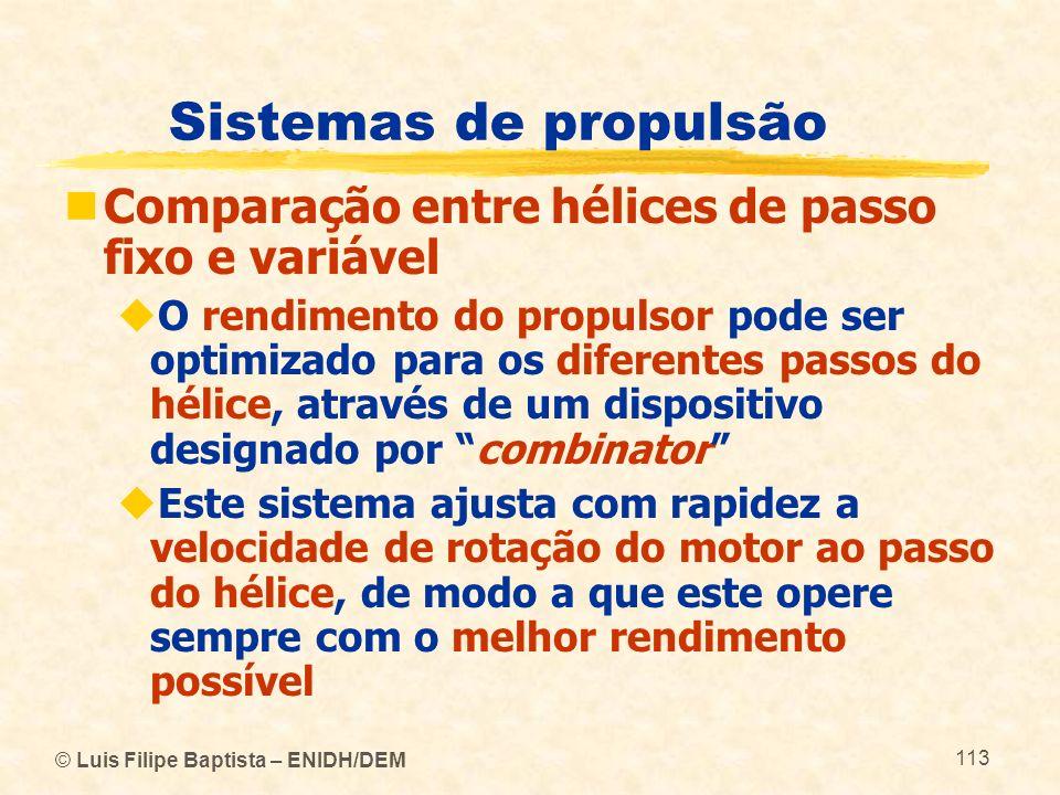 © Luis Filipe Baptista – ENIDH/DEM 113 Sistemas de propulsão Comparação entre hélices de passo fixo e variável O rendimento do propulsor pode ser opti