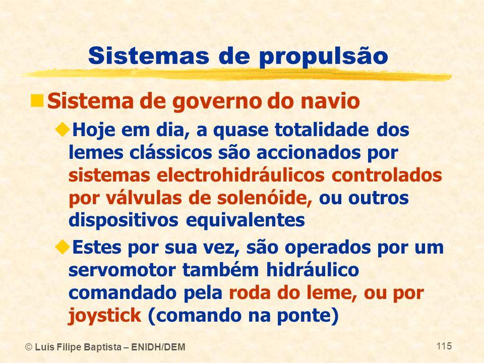 © Luis Filipe Baptista – ENIDH/DEM 115 Sistemas de propulsão Sistema de governo do navio Hoje em dia, a quase totalidade dos lemes clássicos são accio