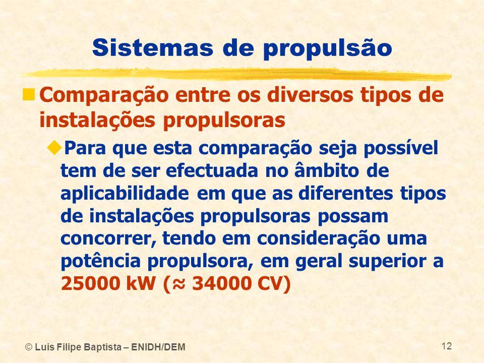 © Luis Filipe Baptista – ENIDH/DEM 12 Sistemas de propulsão Comparação entre os diversos tipos de instalações propulsoras Para que esta comparação sej