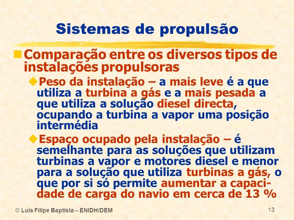 © Luis Filipe Baptista – ENIDH/DEM 13 Sistemas de propulsão Comparação entre os diversos tipos de instalações propulsoras Peso da instalação – a mais