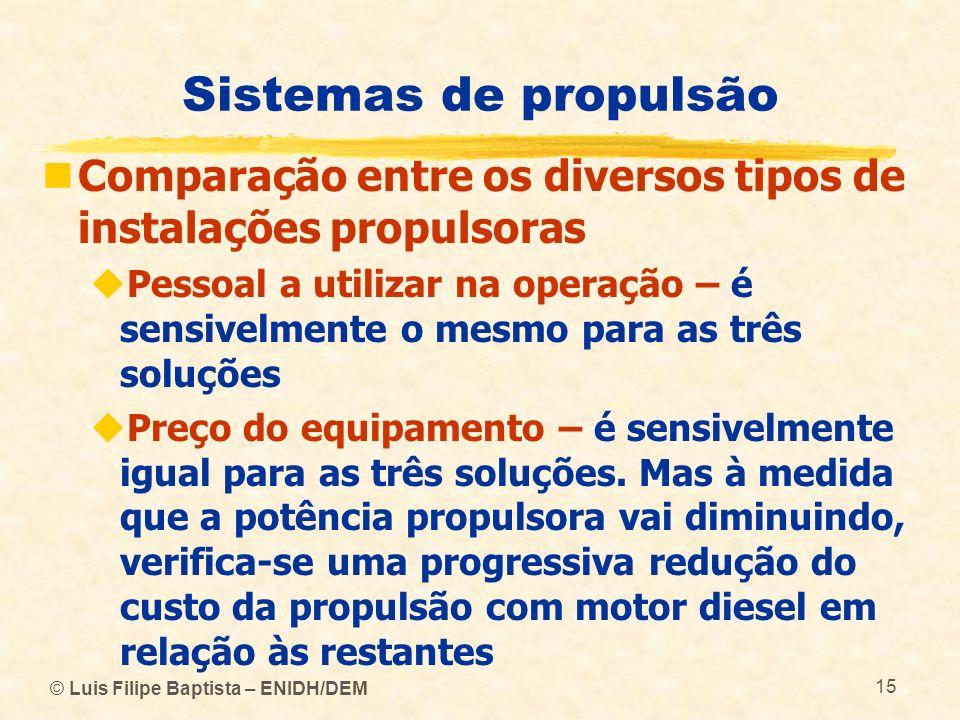 © Luis Filipe Baptista – ENIDH/DEM 15 Sistemas de propulsão Comparação entre os diversos tipos de instalações propulsoras Pessoal a utilizar na operaç