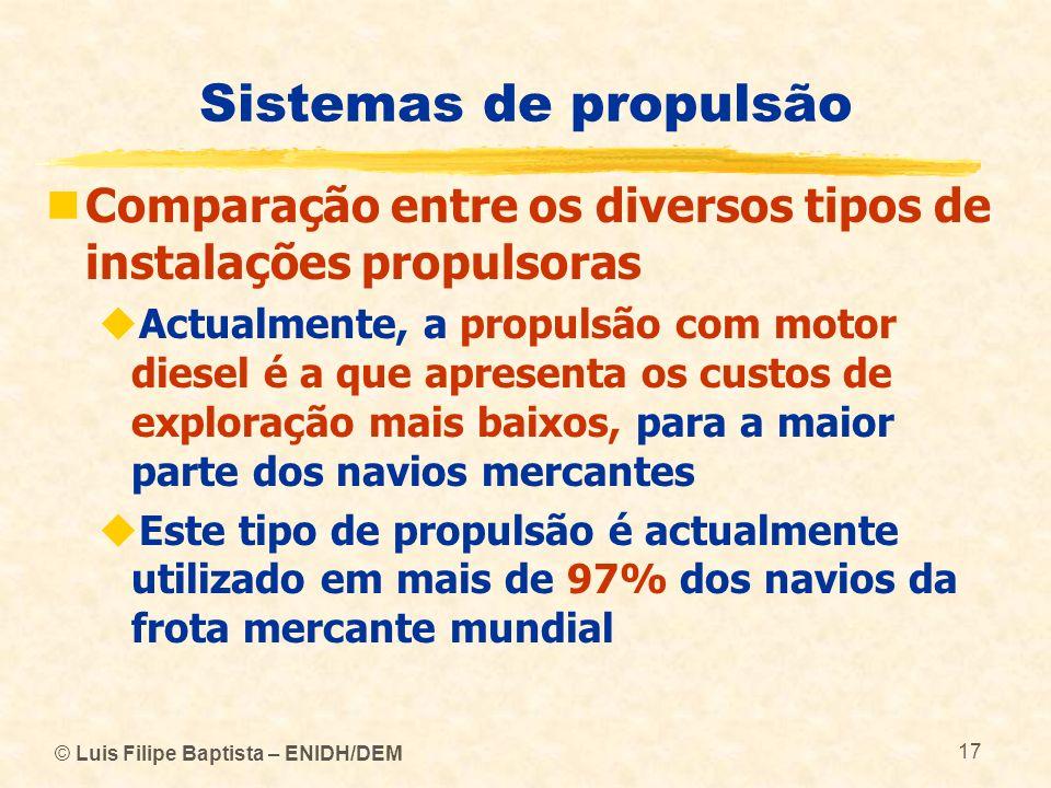 © Luis Filipe Baptista – ENIDH/DEM 17 Sistemas de propulsão Comparação entre os diversos tipos de instalações propulsoras Actualmente, a propulsão com