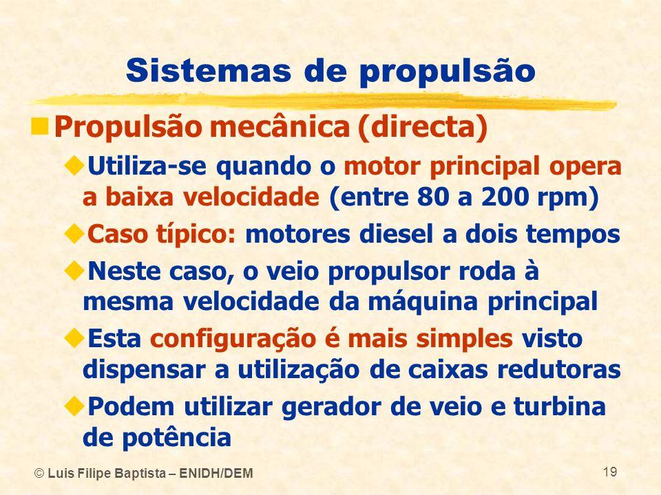 © Luis Filipe Baptista – ENIDH/DEM 19 Sistemas de propulsão Propulsão mecânica (directa) Utiliza-se quando o motor principal opera a baixa velocidade