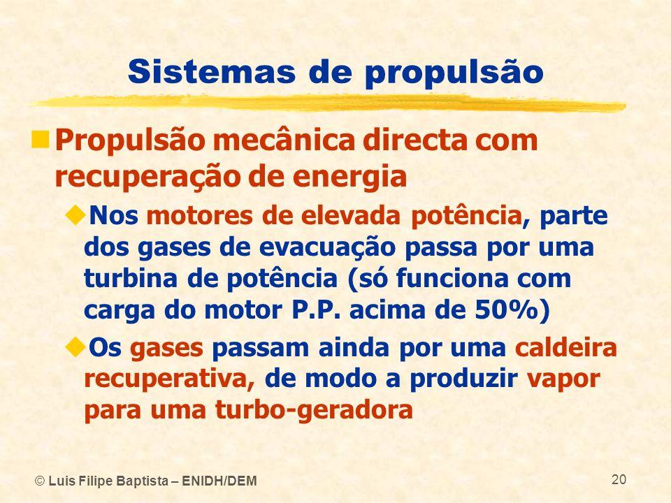 © Luis Filipe Baptista – ENIDH/DEM 20 Sistemas de propulsão Propulsão mecânica directa com recuperação de energia Nos motores de elevada potência, par