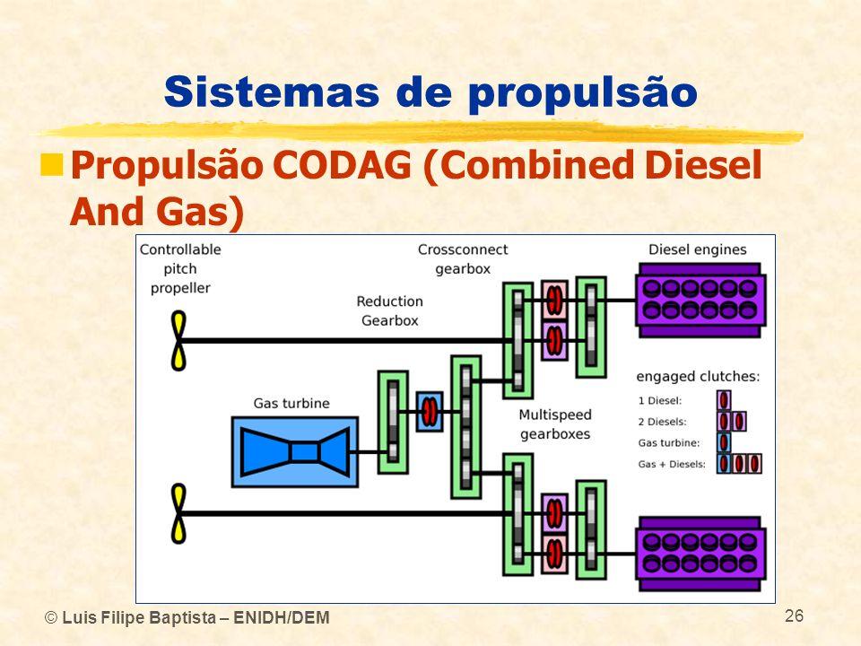© Luis Filipe Baptista – ENIDH/DEM 26 Sistemas de propulsão Propulsão CODAG (Combined Diesel And Gas)